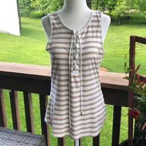 WHBM Cream and Tan Lace-Up Sleeveless Top Size M